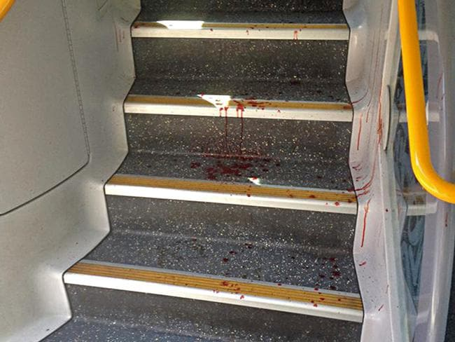 Blood on the train's steps between floors. Picture: Brett Saunders