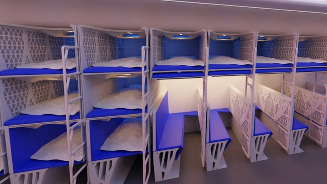 The cabins are all designed to give passengers space to sleep.
