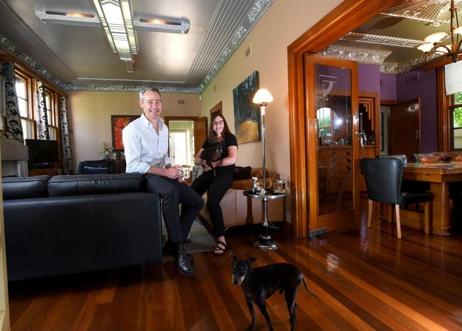 Inside Alison and David O'Loughlin's 1938 art deco Prospect house. Picture: Tricia Watkinson