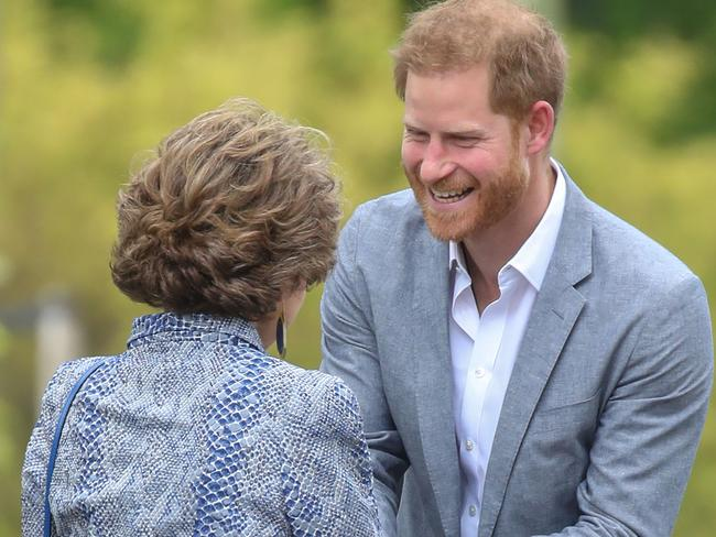 Harry was greeted by Holland's Princess Margriet at the Sportcampus Zuiderpark in The Hague. Picture: Getty Images