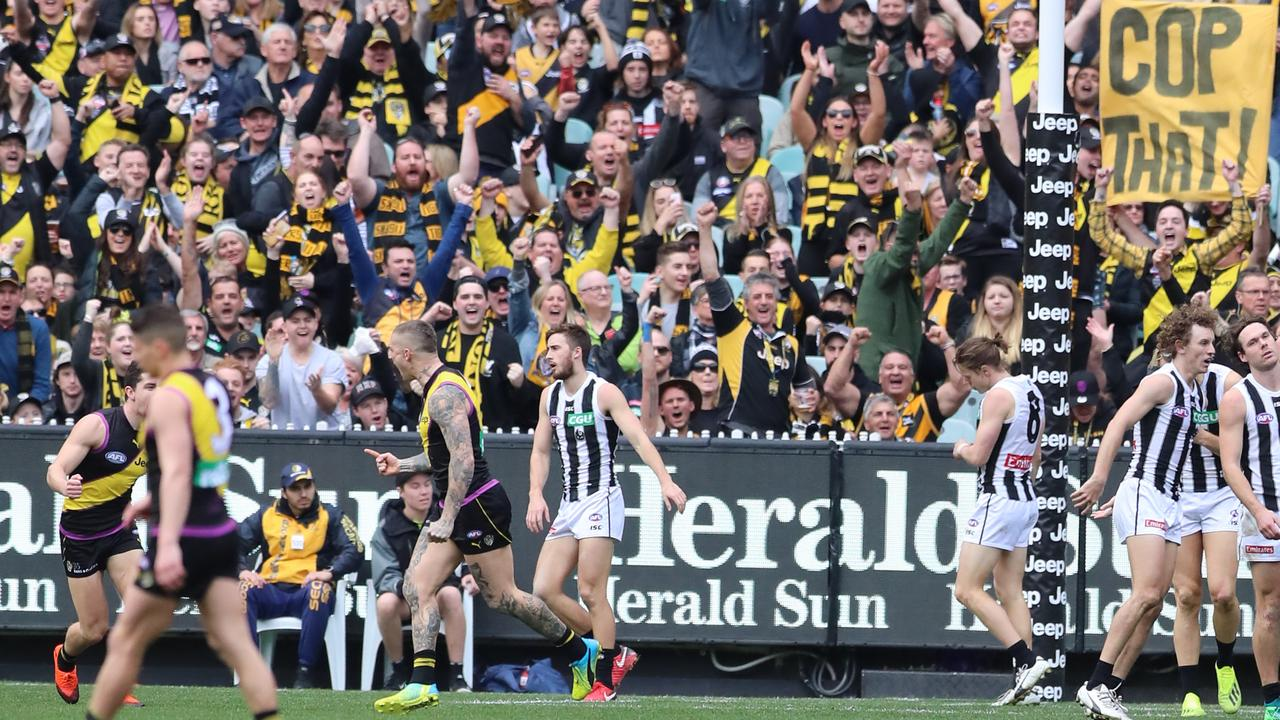 Fans react during Richmond's Round 19 win over Collingwood at the MCG. The two sides will meet in Friday night's First Preliminary Final. Picture: Alex Coppel