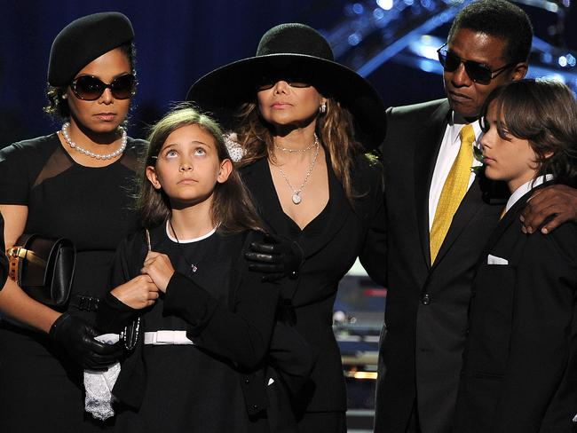 From left, Michael Jackson's sister Janet Jackson, daughter Paris-Michael Katherine, sister Latoya Jackson, brother Jermaine Jackson and oldest son Prince Michael I in 2009. Picture: AFP