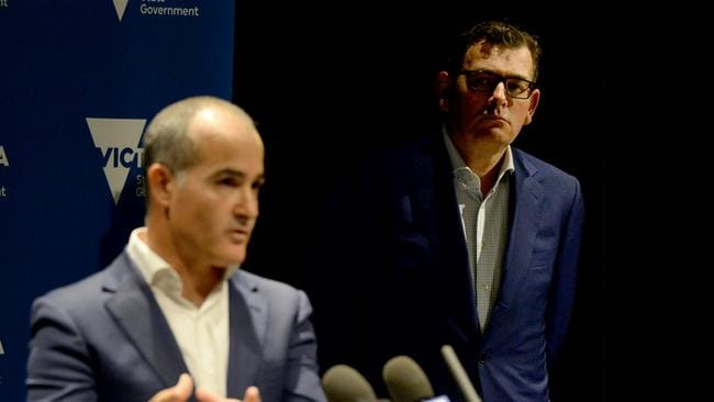 Victorian Premier Daniel Andrews and education minister James Merlino address the media with the latest COVID-19 news. Picture: Andrew Henshaw