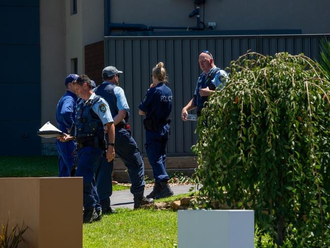 Police outside Francois Schwartz's home in Harrington Park. Picture: Monique Harmer