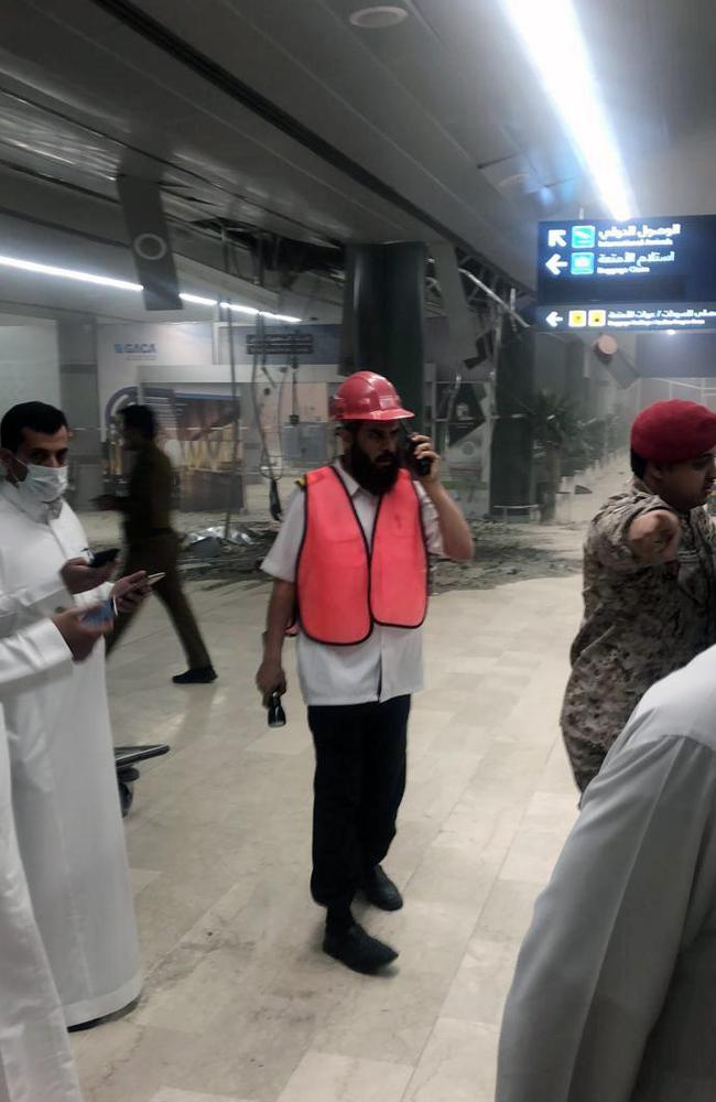Damage inside Abha Regional Airport. Picture: Saudi Press Agency via AP