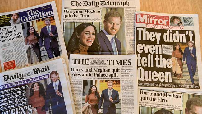The British papers were all about Meghan and Harry. Picture: AFP