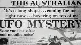 a copy of the Australian newspaper with a story about a UFO and Frederick Valentich's lost plane.