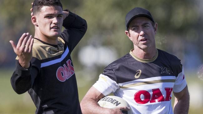 Nathan Cleary chats with Panthers great Greg Alexander.