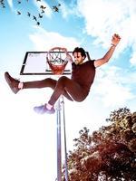 "Flying high: ""Hey my name's Dunkin...Slam Dunkin."" Picture: Jye Emdur"