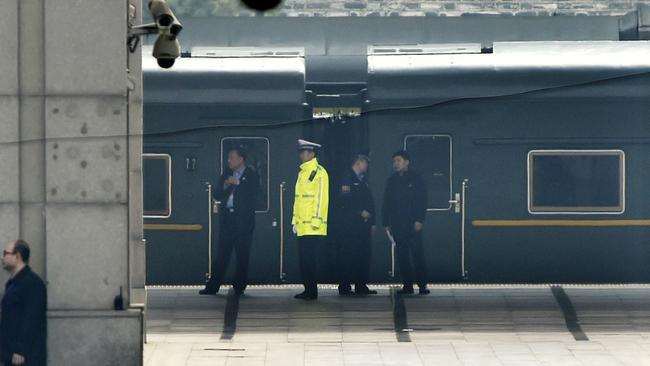 A special train is seen at Beijing Railway Station yesterday. Picture: Kyodo News via AP