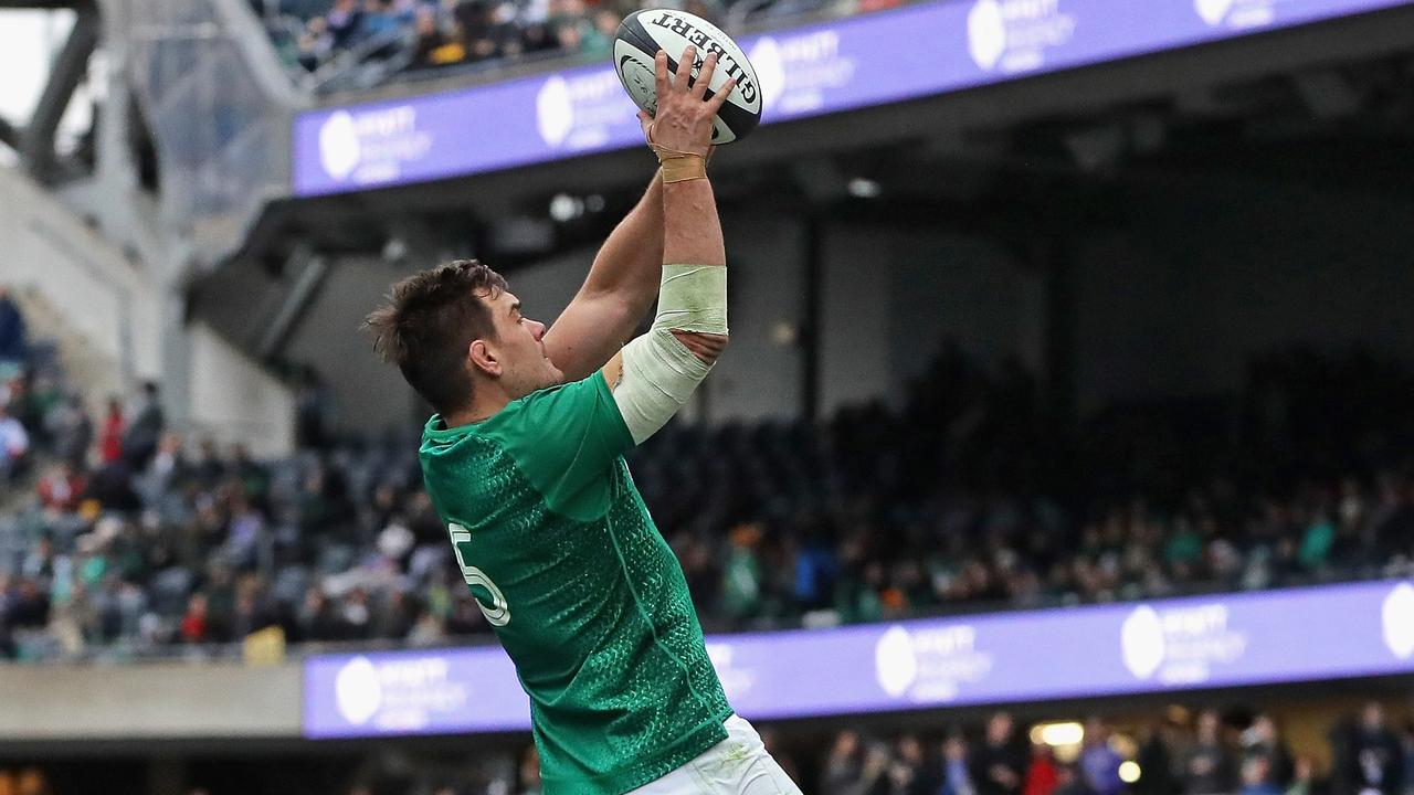 Rhys Ruddock of Ireland takes lineout ball against Italy at Soldier Field in Chicago.