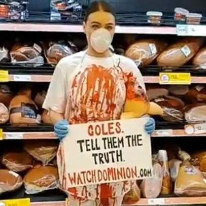 Tash Peterson stormed thought the stores covered in fake blood. Picture: Tash Peterson/Facebook
