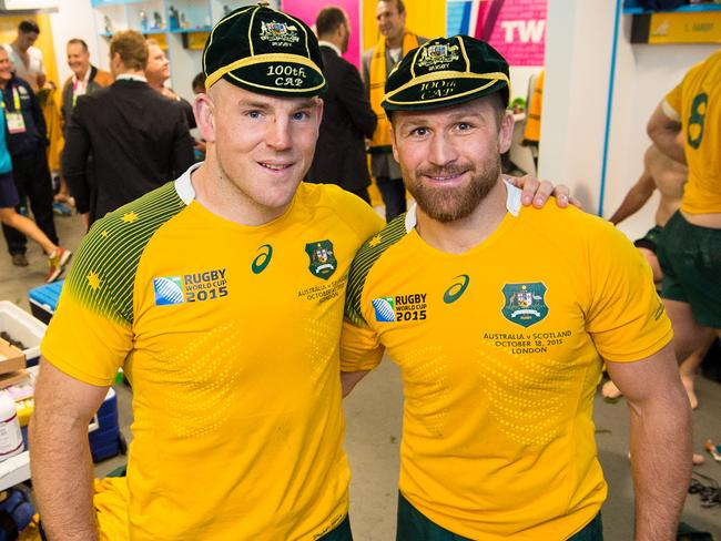 Stephen Moore and Matt Giteau with their 100 Test caps, during the 2015 World Cup. Picture: ARU, Stuart Walmsley