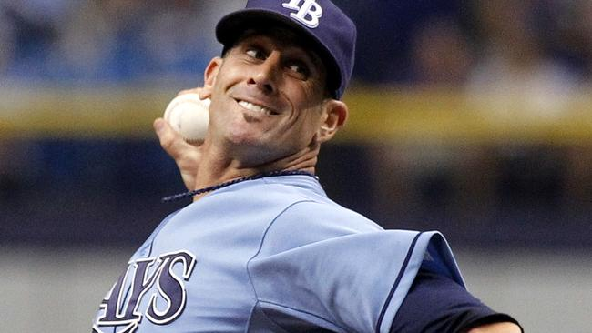 Grant Balfour #50 of the Tampa Bay Rays pitches during the ninth inning.