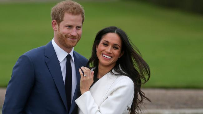 Britain's Prince Harry with Meghan Markle. Picture: Daniel Leal-Olivas / AFP