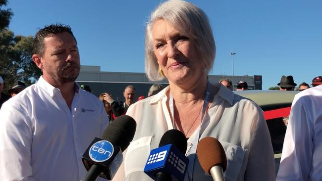 """Holden boss Mark Bernhard, left, and Bev Brock, right, at the start of the Holden """"Dream Cruise"""" 15 October 2017. Picture: Joshua Dowling."""