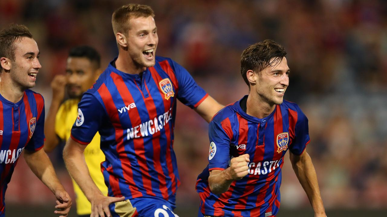 Matthew Ridenton of the Newcastle Jets celebrates. (Photo by Tony Feder/Getty Images)