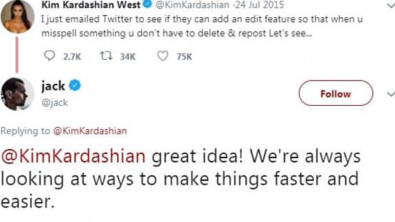 Kim Kardashian tweeting Jack Dorsey back in 2015 about adding the edit button.