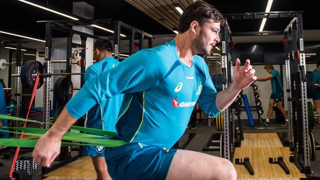 Sam Carter trains at Collingwood's Glasshouse Gym in Melbourne.