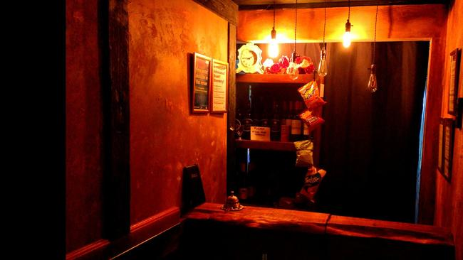 Inside the tiny bar which is just two metres long and 1.3 metres wide.