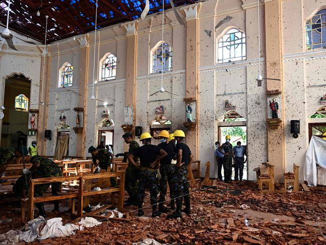 St Sebastian's Church in Negombo was devastated by the bombing. Picture: Ishara Kodikara/AFP
