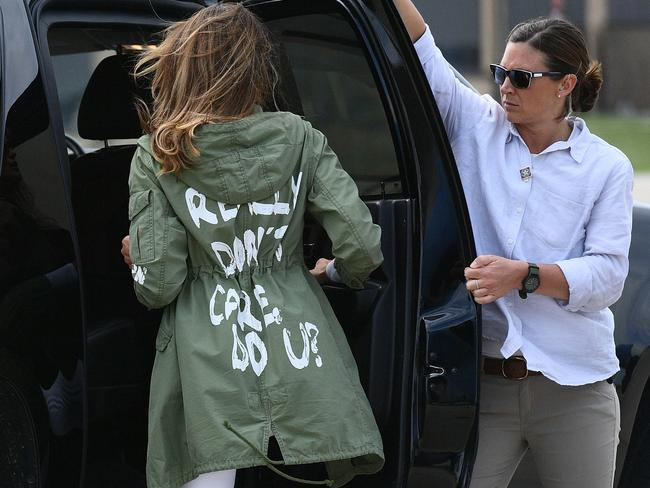 "US First Lady Melania Trump wearing a jacket emblazoned with the words ""I really don't care, do you?"" following her surprise visit with child migrants on the US-Mexico border. Picture: AFP"