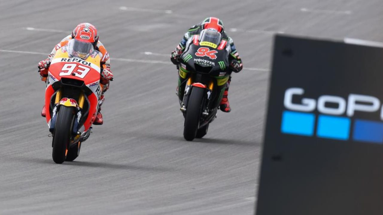 Folger pursues Marquez during last year's German MotoGP.