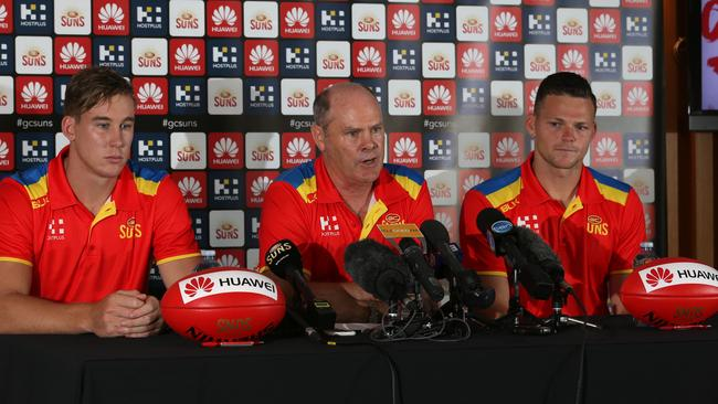 Gold Coast Suns coach Rodney Eade with co-captains Tom Lynch and Steven May. Picture: Regi Varghese