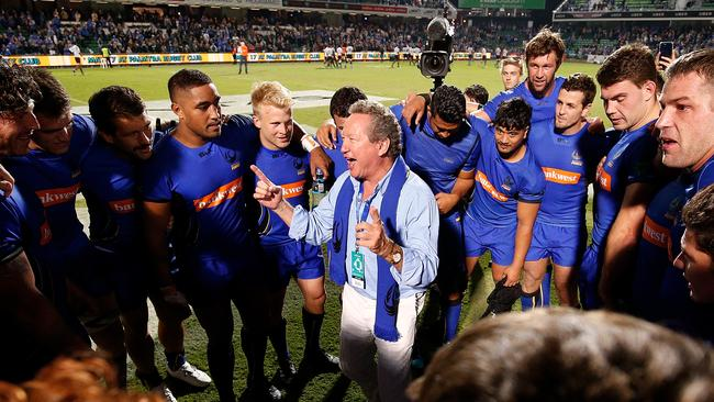 Andrew Forrest addresses the Force after winning the World Series Rugby match.