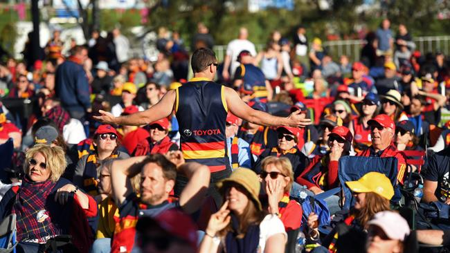 The mood turns among Crows fans at Adelaide Oval. Picture: Tom Huntley