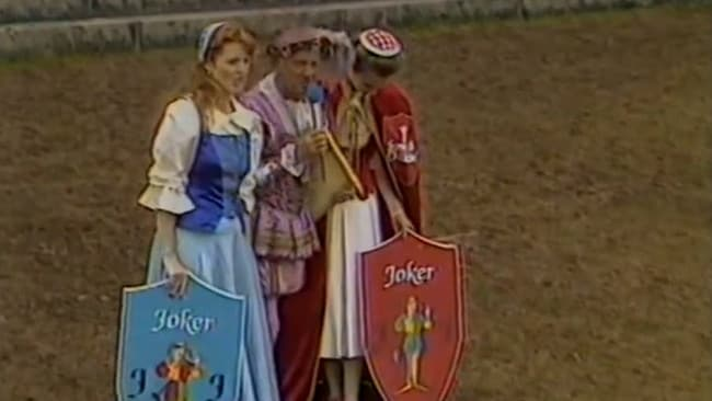Fergie and Princess Anne with their 'joker' shields.
