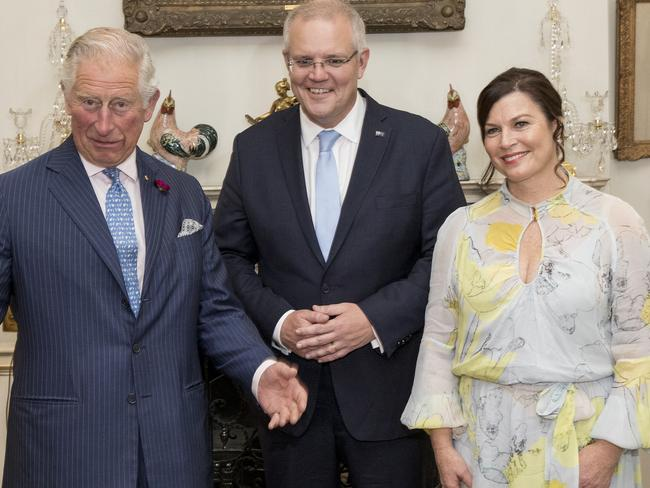 Mr Morrison, pictured with wife Jenny and the Prince of Wales, said he was already working on a free-trade agreement with the UK, which could benefit Australia after Brexit. Picture: Ella Pellegrini