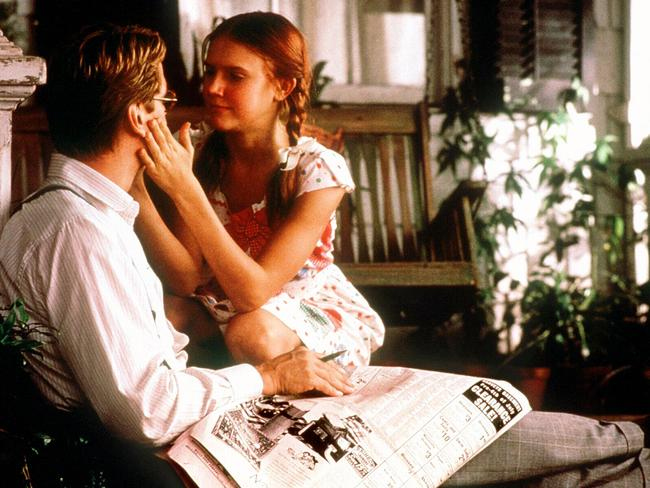 Actor Jeremy Irons with Dominique Swain in scene from the film adaptation of Nabokov's Lolita.