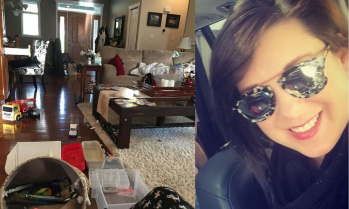 Mum's honest pic of her messy lounge room goes viral