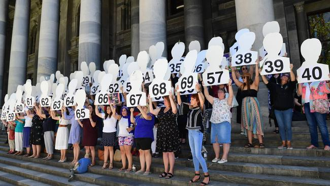 The rally for the 60 women killed as a result of domestic violence in 2018. Picture: AAP / Mark Brake