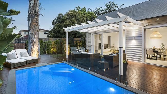 A solar-heated pool was part of the package.