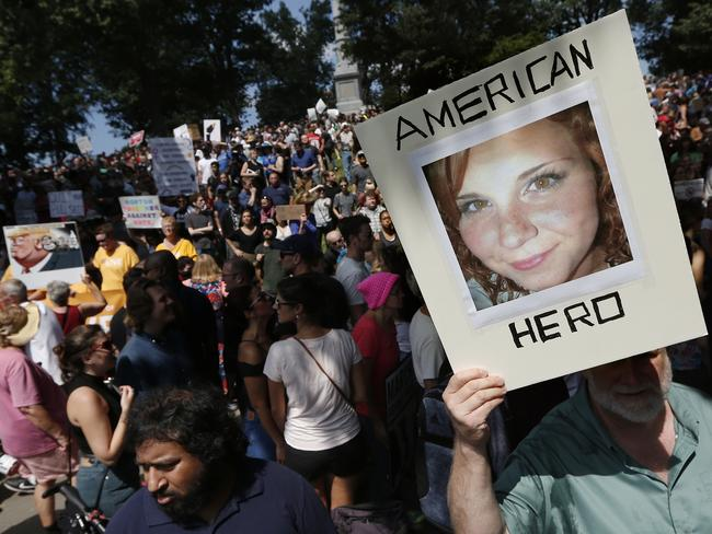Heather Heyer was killed when James Fields Jr drove through a crowd of counter-protesters in Charlottesville. Picture: AP