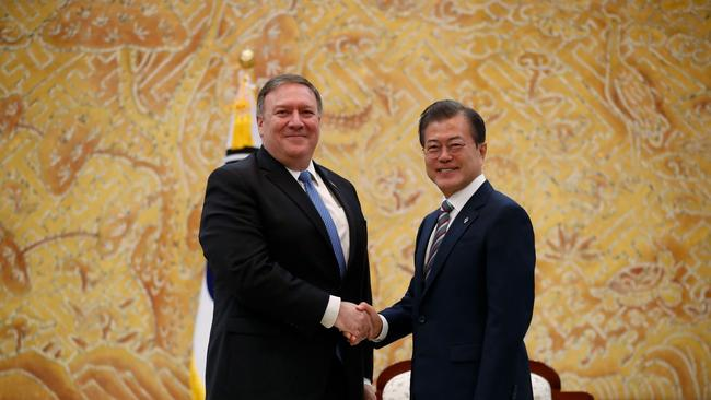US Secretary of State Mike Pompeo met with South Korea's President Moon Jae-in. Picture: Kim Hong-ji/AFP