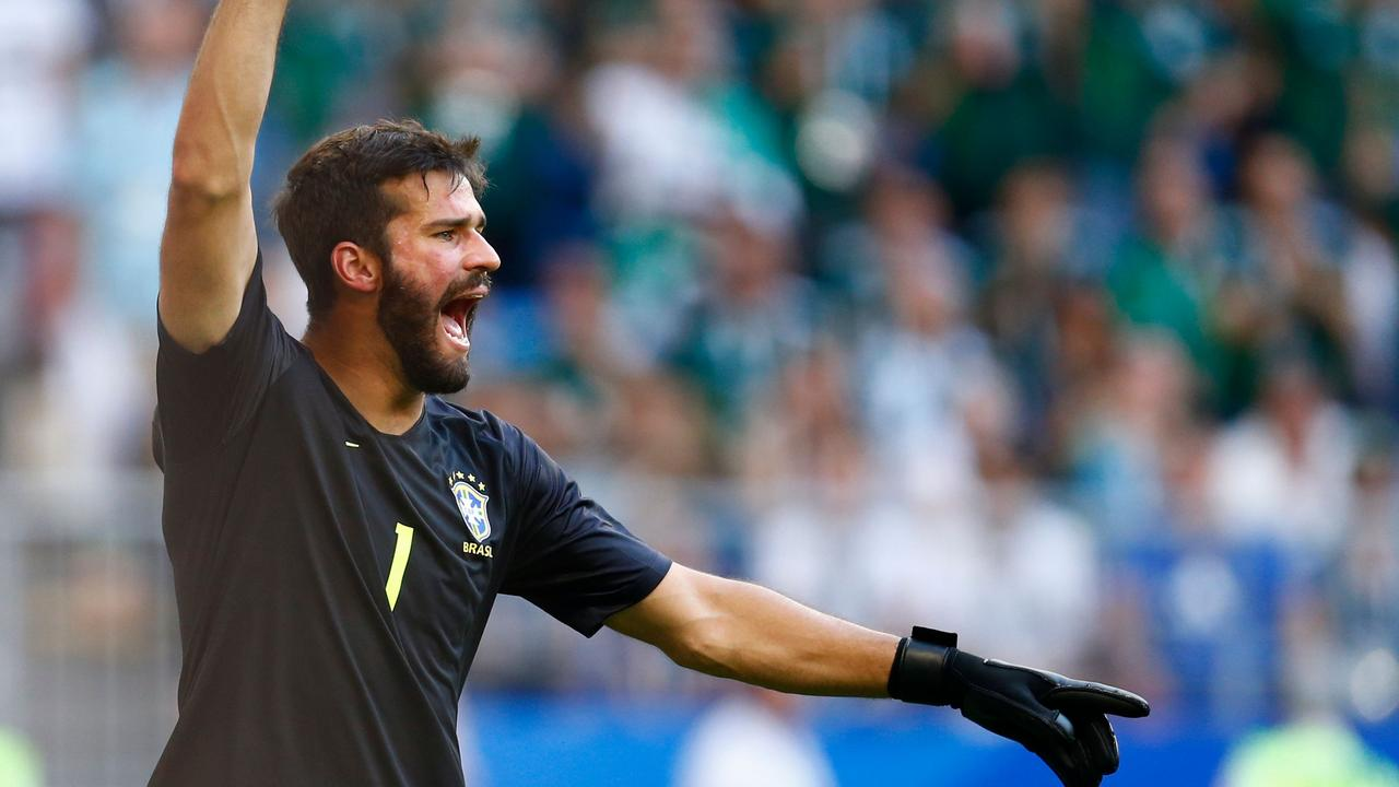 Brazil's goalkeeper Alisson gestures against Mexico.