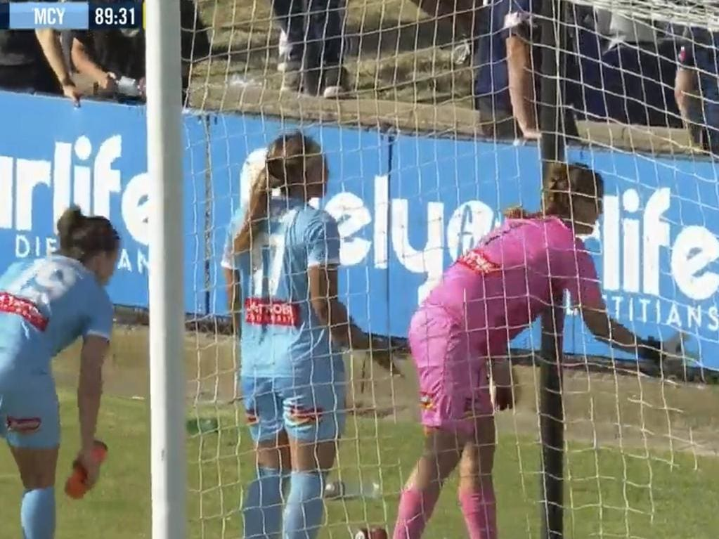 Bottles thrown onto the field during the W-League Melbourne derby.