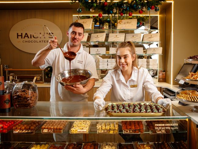 Chocolatier Anthony Parry with sales staffer Chelsea Shinkfield at Haigh's Chocolates. Photo: Matt Turner