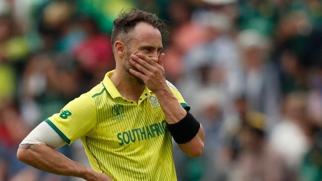 South Africa's captain Faf du Plessis has unloaded on his teammates after another World Cup loss. Picture: Adrian Dennis/AFP