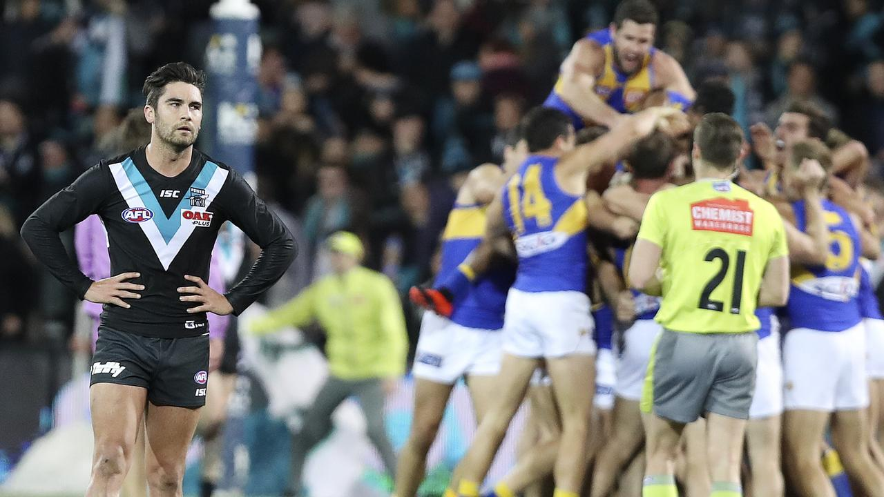 Chad Wingard stands in disbelief after losing to West Coast in August.