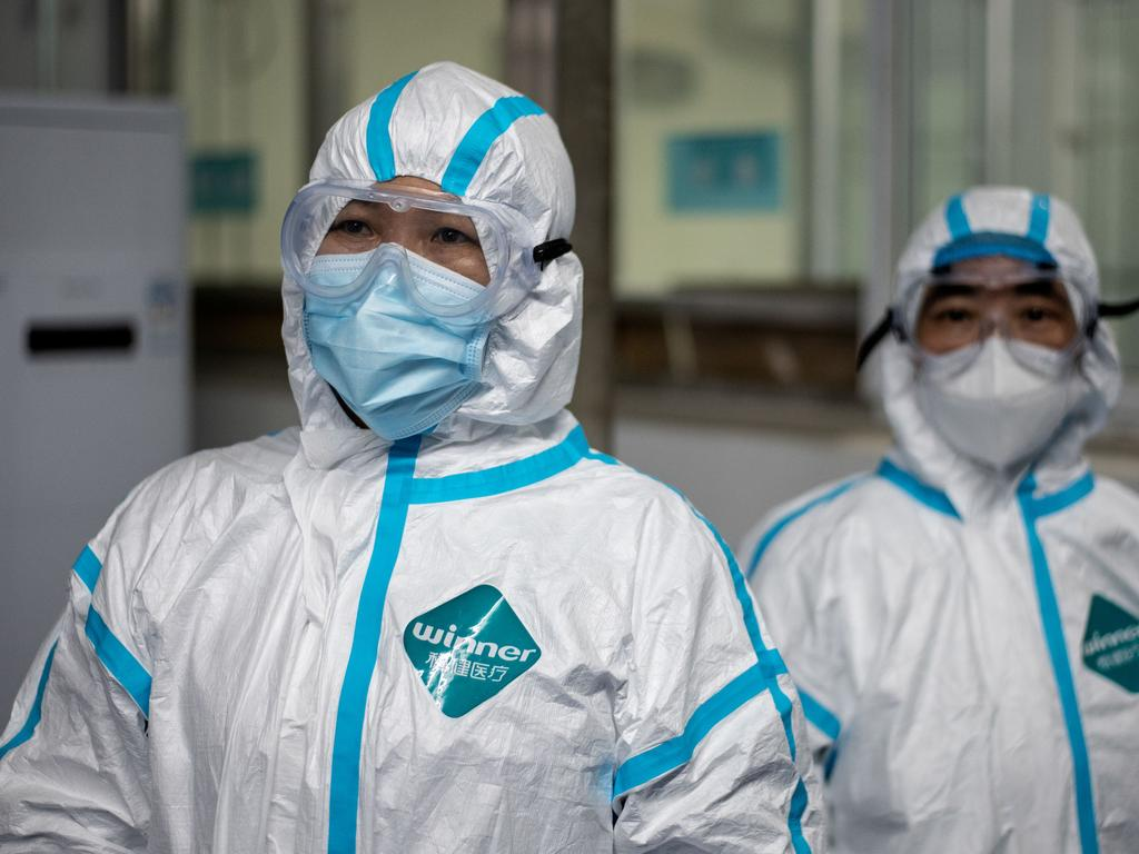 Medical workers at a fever clinic in Huanggang Zhongxin Hospital in Huanggang, in China's central Hubei province. Picture: Noel Celis/AFP
