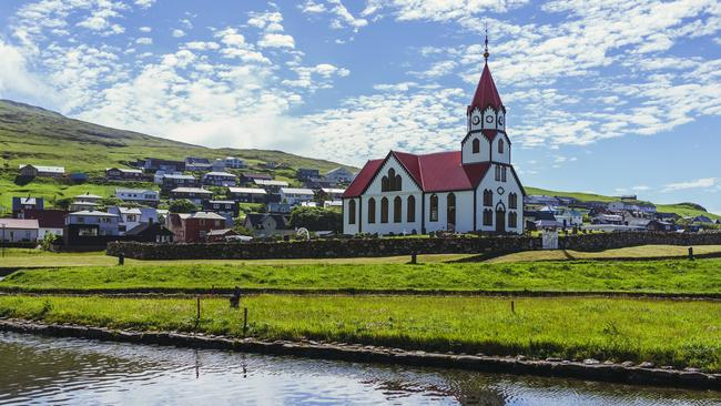 The village of Sandavagur on Vagar in the Faroe Islands.