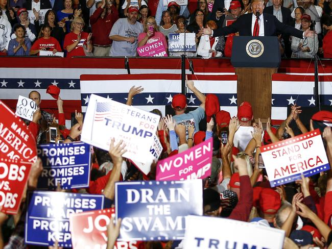 The catchphrase is often chanted by supporters at Trump rallies. Picture: AP Photo/Butch Dill