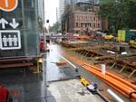 As The low hits Sydney .the light rail is now under water at town hall .picture John Grainger