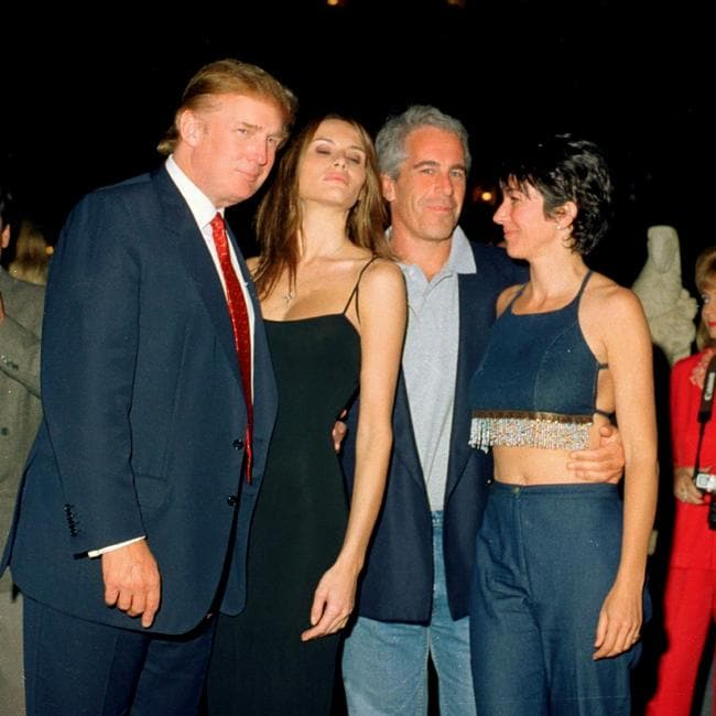 President Donald Trump with his future wife Melania, Jeffrey Epstein and Ghislaine Maxwell in 2000. Picture: Davidoff Studios/Getty Images