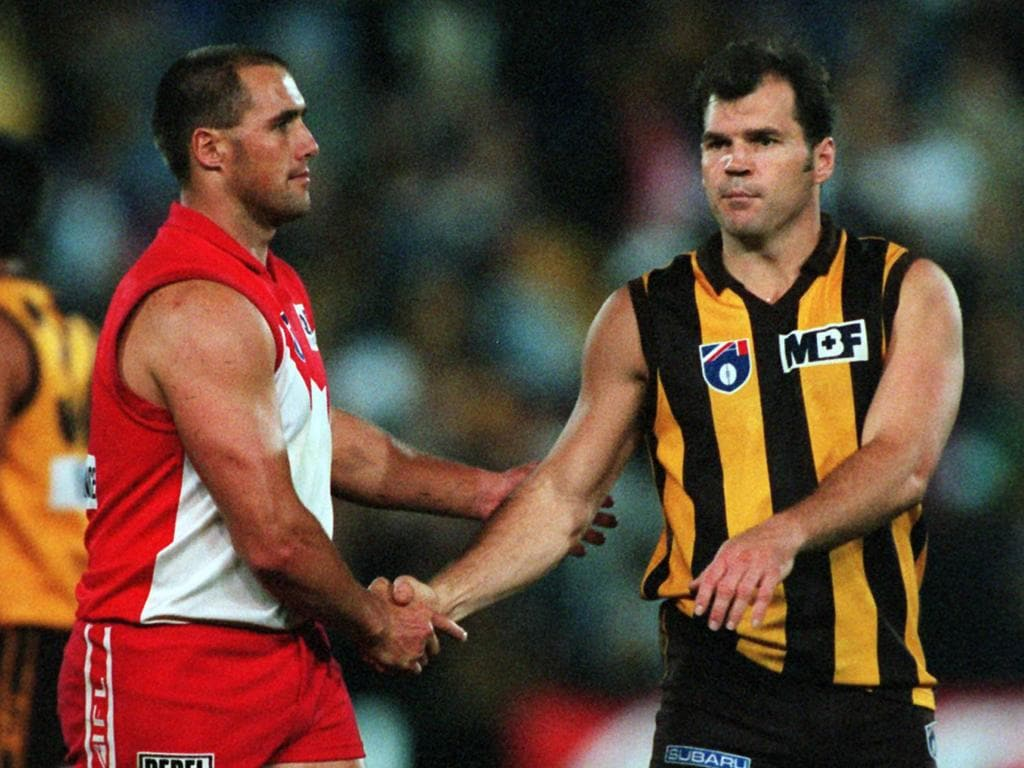 26Apr97. Hawthorn v Sydney. Tony Lockett (l) and Jason Dunstall after the Hawks' win at Waverley Park. /football