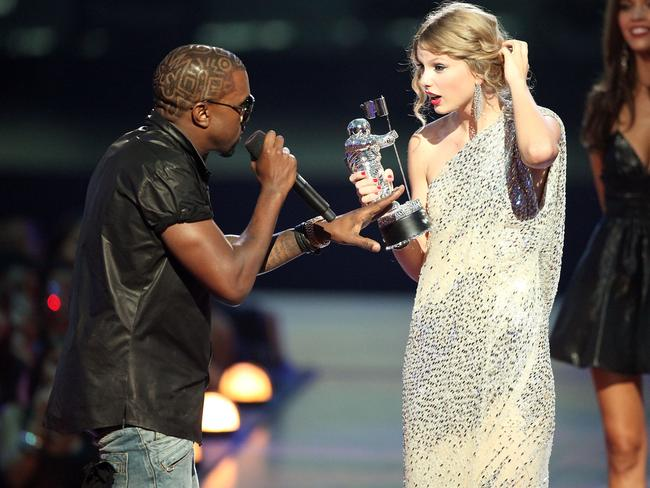 Kanye West jumped onstage after Taylor Swift won the Best Female Video award during the 2009 MTV Video Music Awards. Picture: Christopher Polk/Getty Images